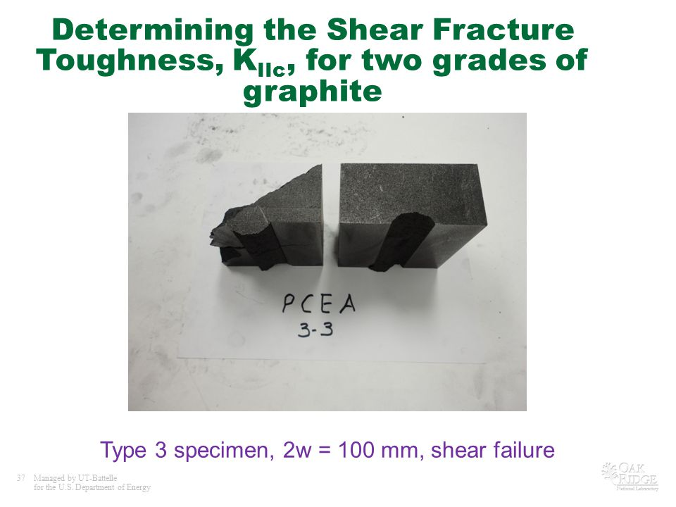 37Managed by UT-Battelle for the U.S. Department of Energy Determining the Shear Fracture Toughness, K IIc, for two grades of graphite Type 3 specimen