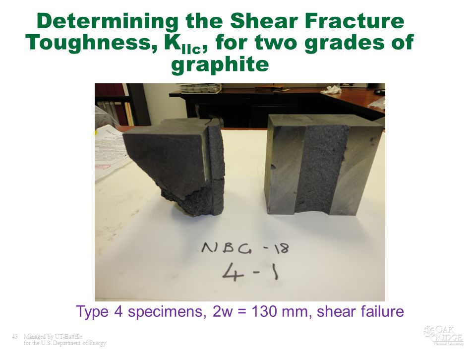 43Managed by UT-Battelle for the U.S. Department of Energy Determining the Shear Fracture Toughness, K IIc, for two grades of graphite Type 4 specimen