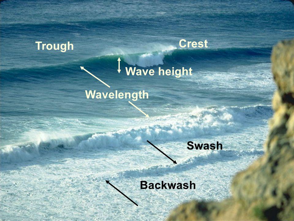 Trough Crest Wavelength Wave height Swash Backwash
