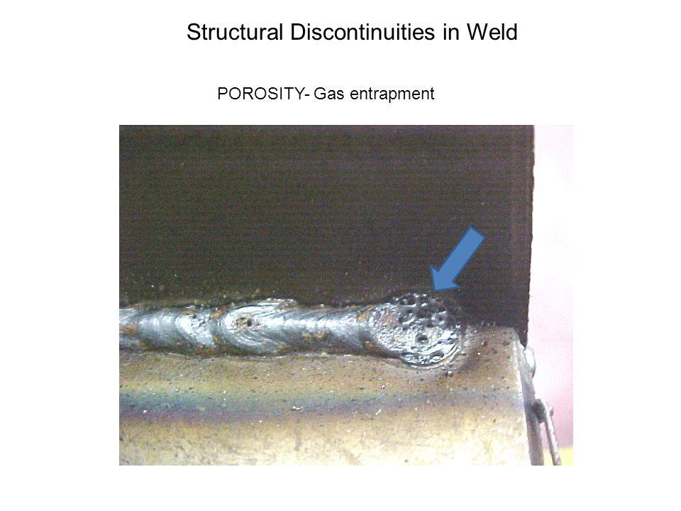 Structural Discontinuities Porosity Slag inclusion Tungsten Inclusion Poor penetration Undercut Cracks Lack of Fusion Burn Through Rollover or Cold Lap