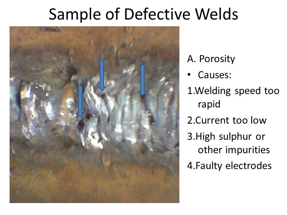 Sample of Defective Welds Porosity would likely to occur at starting the weld, Tie Ins. Over reinforcement