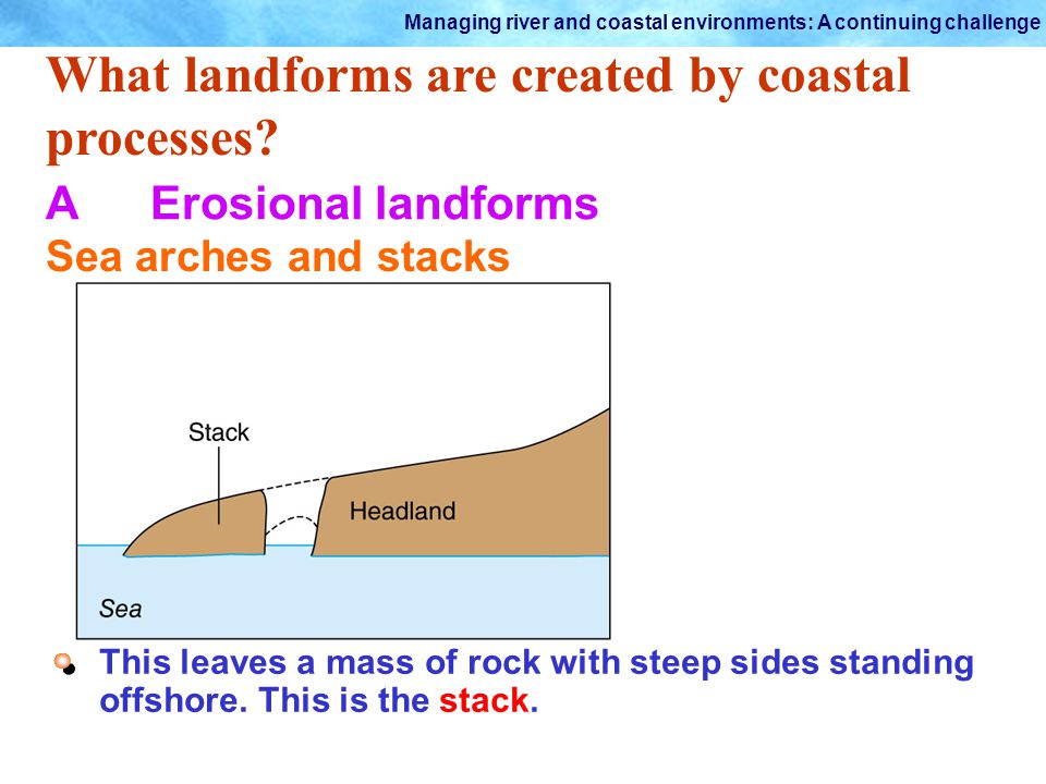 Managing river and coastal environments: A continuing challenge What landforms are created by coastal processes? AErosional landforms Sea arches and s