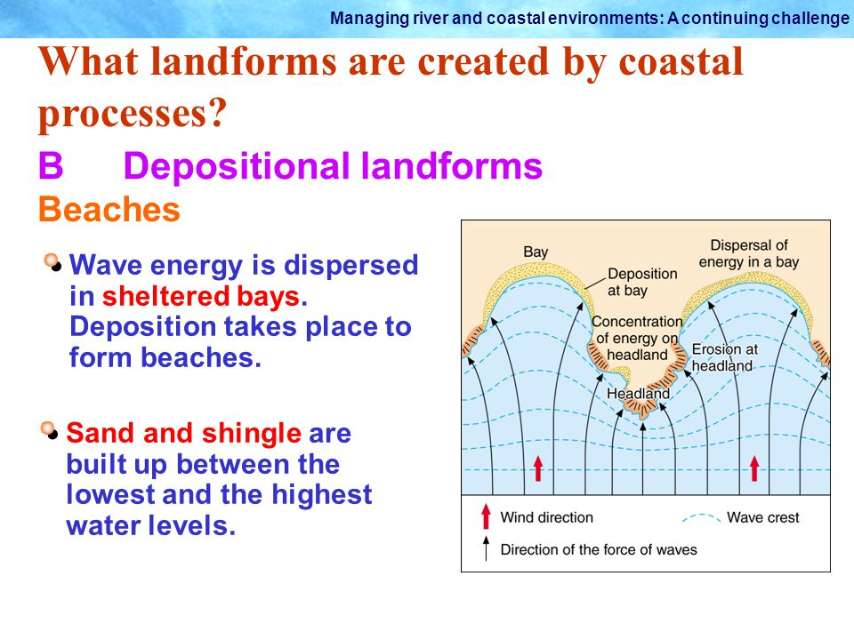 Managing river and coastal environments: A continuing challenge What landforms are created by coastal processes? BDepositional landforms Beaches Wave