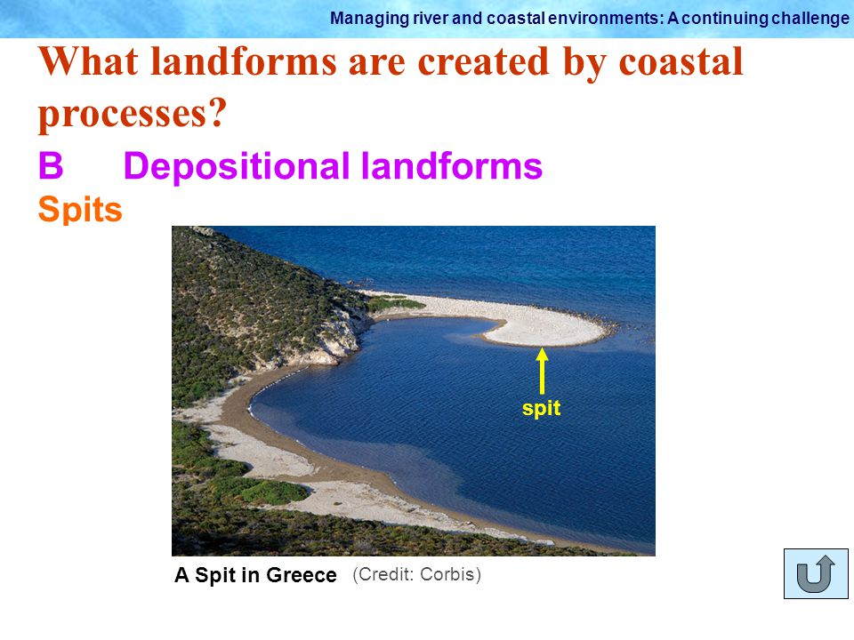 Managing river and coastal environments: A continuing challenge What landforms are created by coastal processes? BDepositional landforms Spits As the