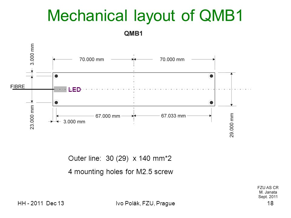 HH - 2011 Dec 13Ivo Polák, FZU, Prague18 Mechanical layout of QMB1 Outer line: 30 (29) x 140 mm*2 4 mounting holes for M2.5 screw LED