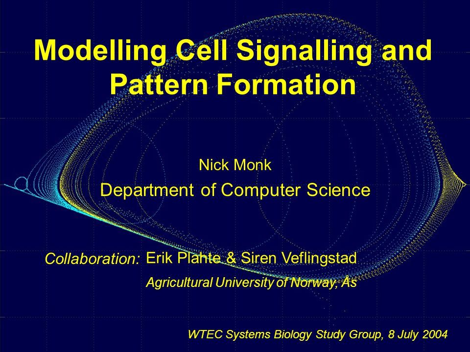 Modelling Cell Signalling and Pattern Formation Nick Monk Department of Computer Science Collaboration: Erik Plahte & Siren Veflingstad Agricultural University of Norway, Ås WTEC Systems Biology Study Group, 8 July 2004
