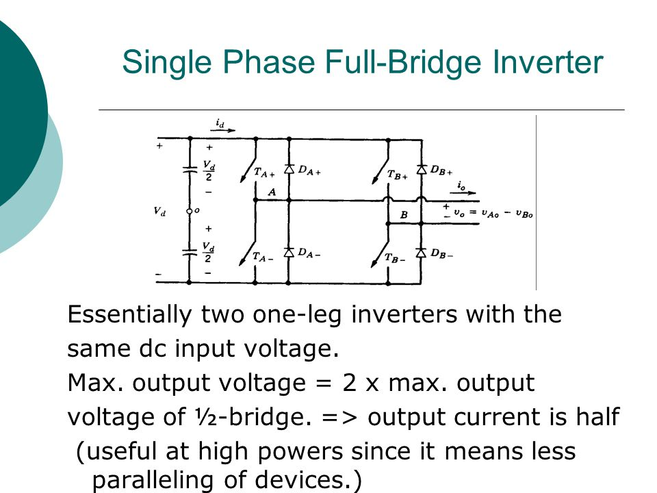 Single Phase Full-Bridge Inverter Essentially two one-leg inverters with the same dc input voltage. Max. output voltage = 2 x max. output voltage of ½