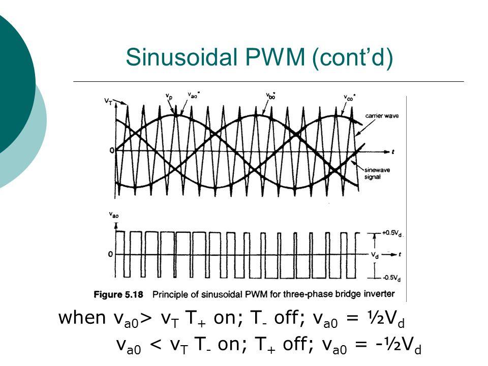 Sinusoidal PWM (cont'd) when v a0 > v T T + on; T - off; v a0 = ½V d v a0 < v T T - on; T + off; v a0 = -½V d