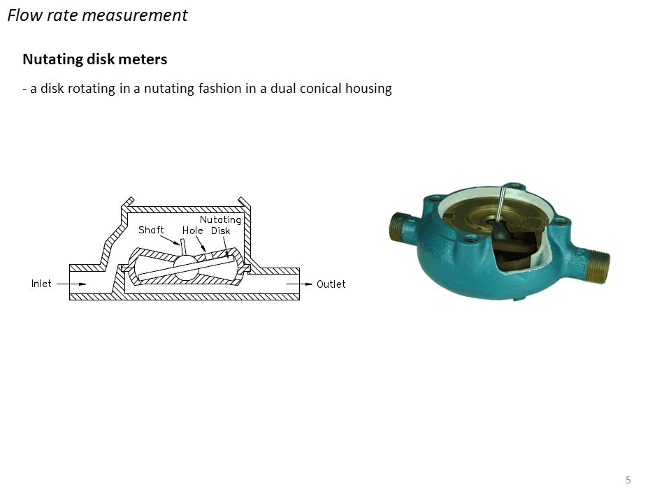 5 Flow rate measurement Nutating disk meters - a disk rotating in a nutating fashion in a dual conical housing