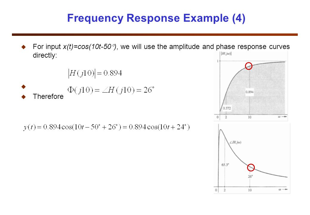Frequency Response Example (4) u For input x(t)=cos(10t-50  ), we will use the amplitude and phase response curves directly: u u Therefore