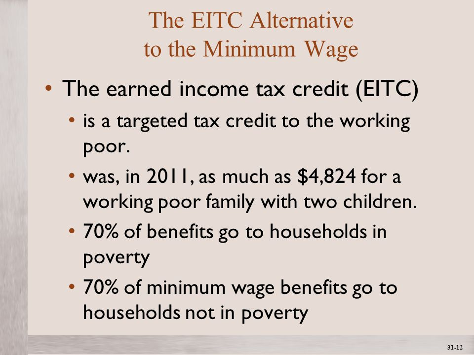1- 12 ©2012 The McGraw-Hill Companies, All Rights ReservedMcGraw-Hill/Irwin 31-12 The EITC Alternative to the Minimum Wage The earned income tax credit (EITC) is a targeted tax credit to the working poor.