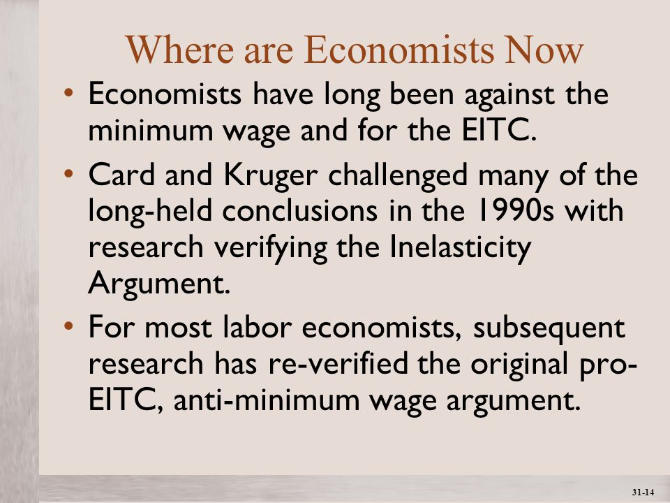 1- 14 ©2012 The McGraw-Hill Companies, All Rights ReservedMcGraw-Hill/Irwin 31-14 Where are Economists Now Economists have long been against the minimum wage and for the EITC.