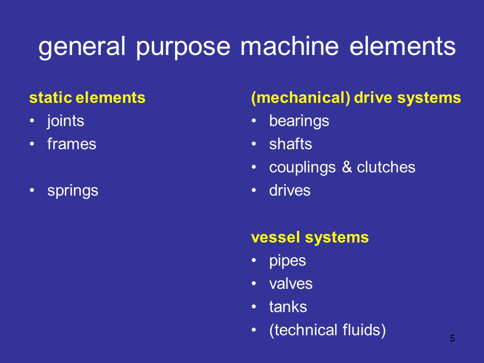 general purpose machine elements static elements joints frames springs (mechanical) drive systems bearings shafts couplings & clutches drives vessel systems pipes valves tanks (technical fluids) 5
