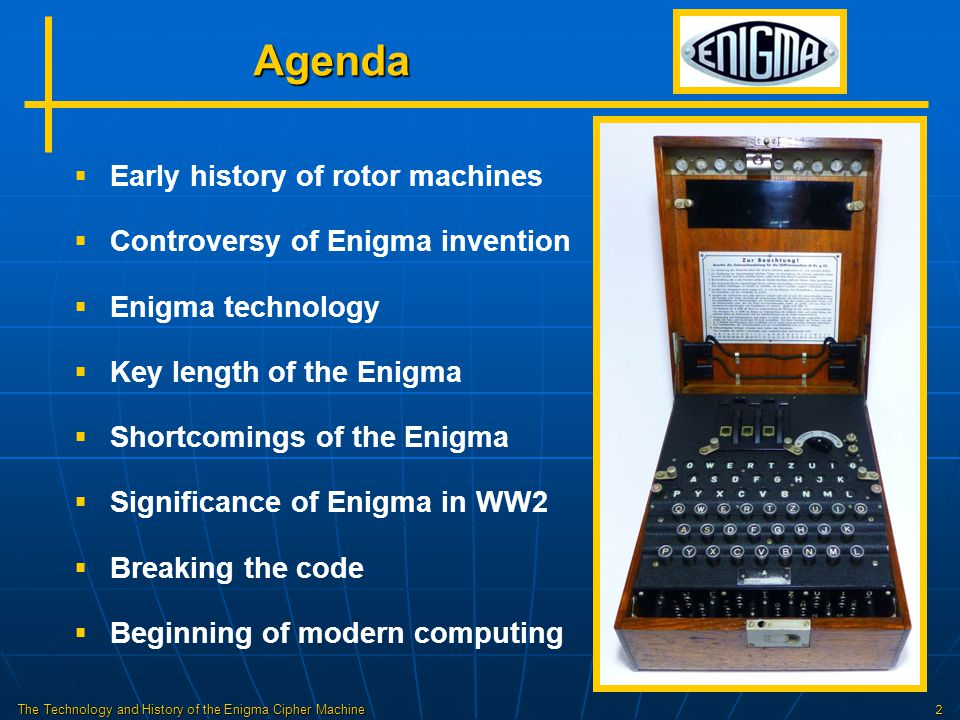 The Technology and History of the Enigma Cipher Machine13 Wiring Diagram Light Panel Keyboard Plugboard Reflector Left Rotor Middle Rotor Right Rotor Entry Drum Q WERTZIOU YXCVBM L N SDFGHKJ Q WERTZIOU Q WERTZIO U ASDFGKJ ASDFGJ P YXCVBML PYXCVBMLN 234 5 678 P N 1 K # = # times enciphered 9 A H Reflector & Rotors H