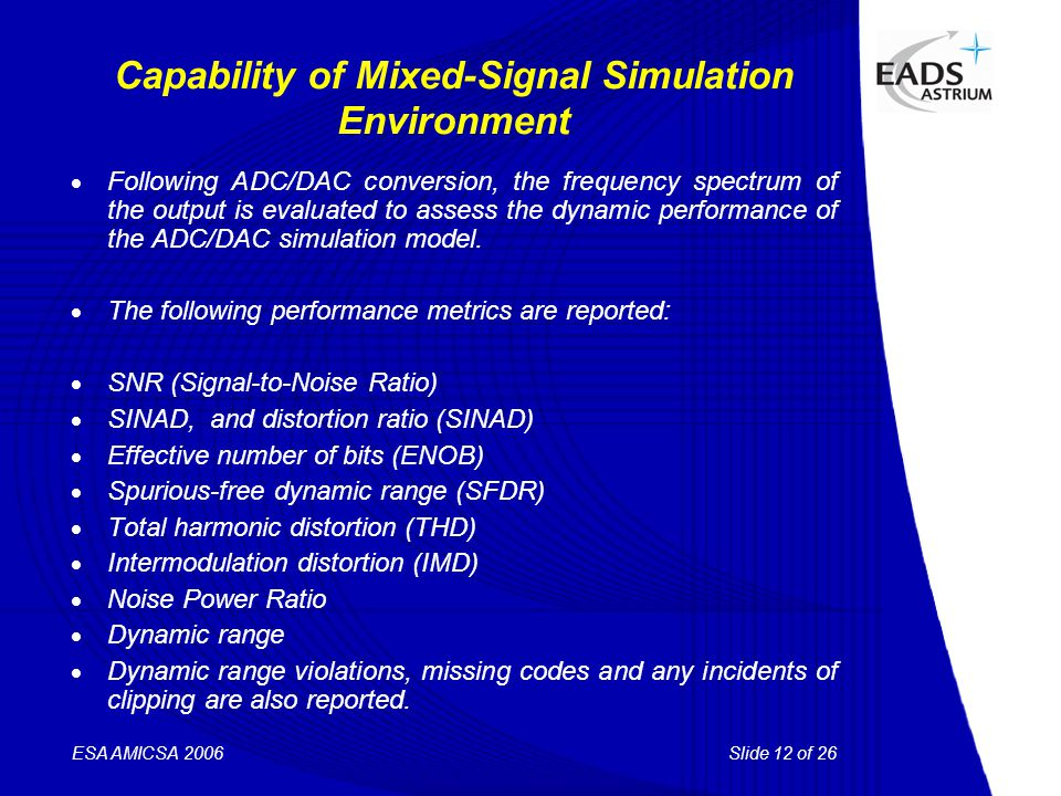 Slide 12 of 26 ESA AMICSA 2006 Capability of Mixed-Signal Simulation Environment  Following ADC/DAC conversion, the frequency spectrum of the output is evaluated to assess the dynamic performance of the ADC/DAC simulation model.