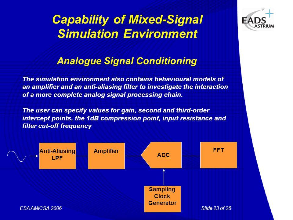 Slide 23 of 26 ESA AMICSA 2006 Capability of Mixed-Signal Simulation Environment Analogue Signal Conditioning ADC FFT Sampling Clock Generator Amplifi