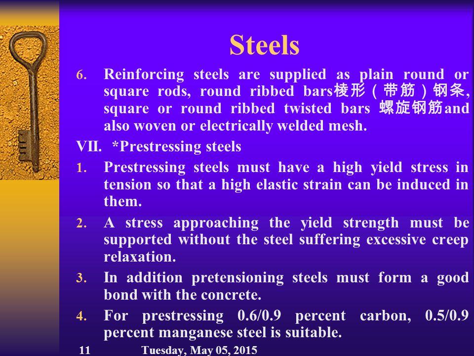 Steels VI.*Concrete reinforcement 1.