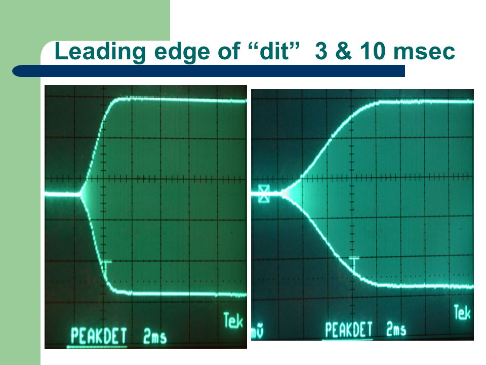 "Leading edge of ""dit"" 3 & 10 msec"