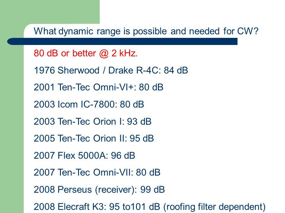 80 dB or better @ 2 kHz. 1976 Sherwood / Drake R-4C: 84 dB 2001 Ten-Tec Omni-VI+: 80 dB 2003 Icom IC-7800: 80 dB 2003 Ten-Tec Orion I: 93 dB 2005 Ten-