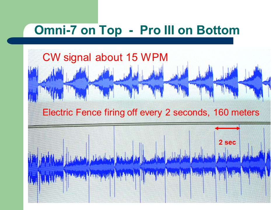 Omni-7 on Top - Pro III on Bottom Electric Fence firing off every 2 seconds, 160 meters CW signal about 15 WPM 2 sec
