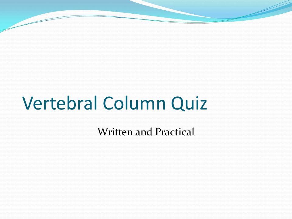 Vertebral Column Quiz Written and Practical