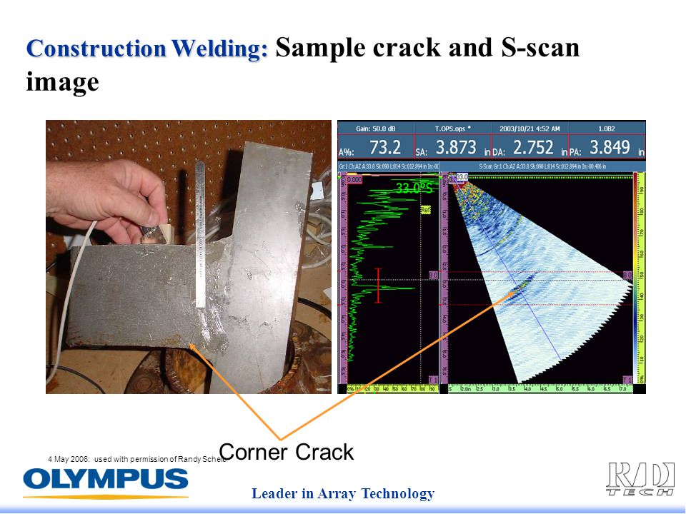 Leader in Array Technology 4 May 2006: used with permission of Randy Scheib Construction Welding: Construction Welding: Sample crack and S-scan image Corner Crack