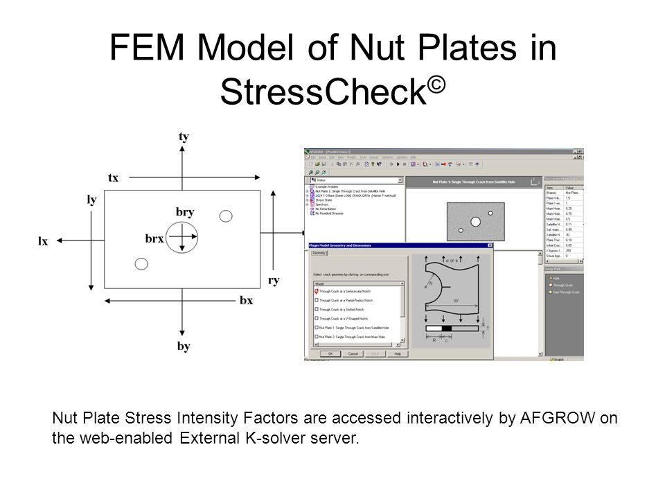 FEM Model of Countersunk Fastener Holes in StressCheck © Countersunk Hole Stress Intensity Factors are accessed interactively by AFGROW on the web-enabled External K-solver server.