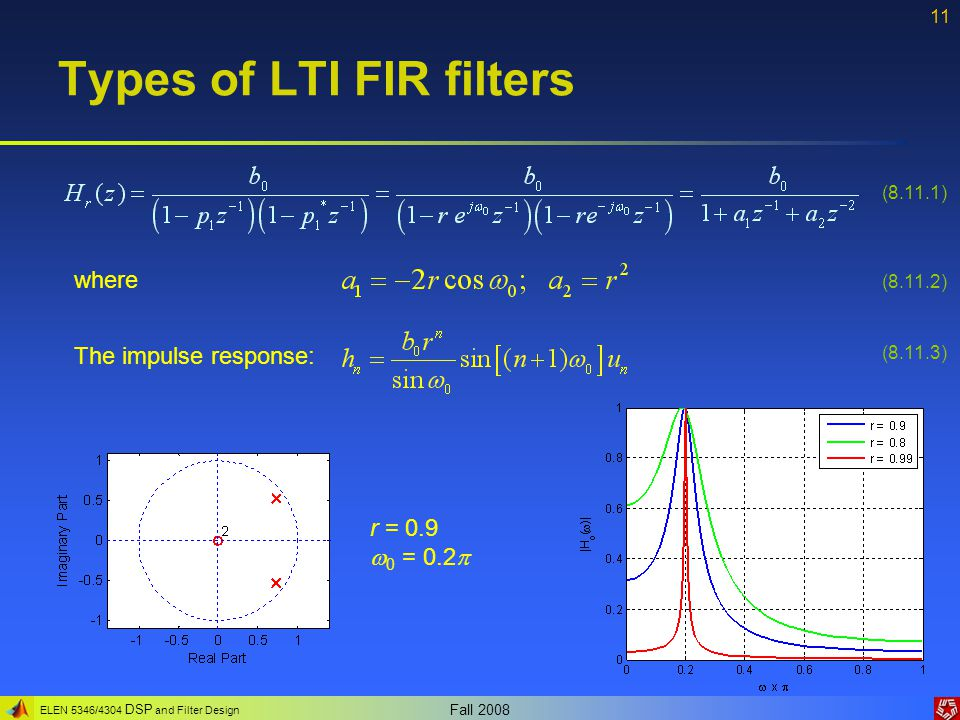 ELEN 5346/4304 DSP and Filter Design Fall 2008 11 Types of LTI FIR filters (8.11.1) (8.11.2) (8.11.3) where The impulse response: r = 0.9  0 = 0.2 