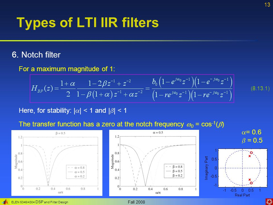 ELEN 5346/4304 DSP and Filter Design Fall 2008 13 Types of LTI IIR filters 6.