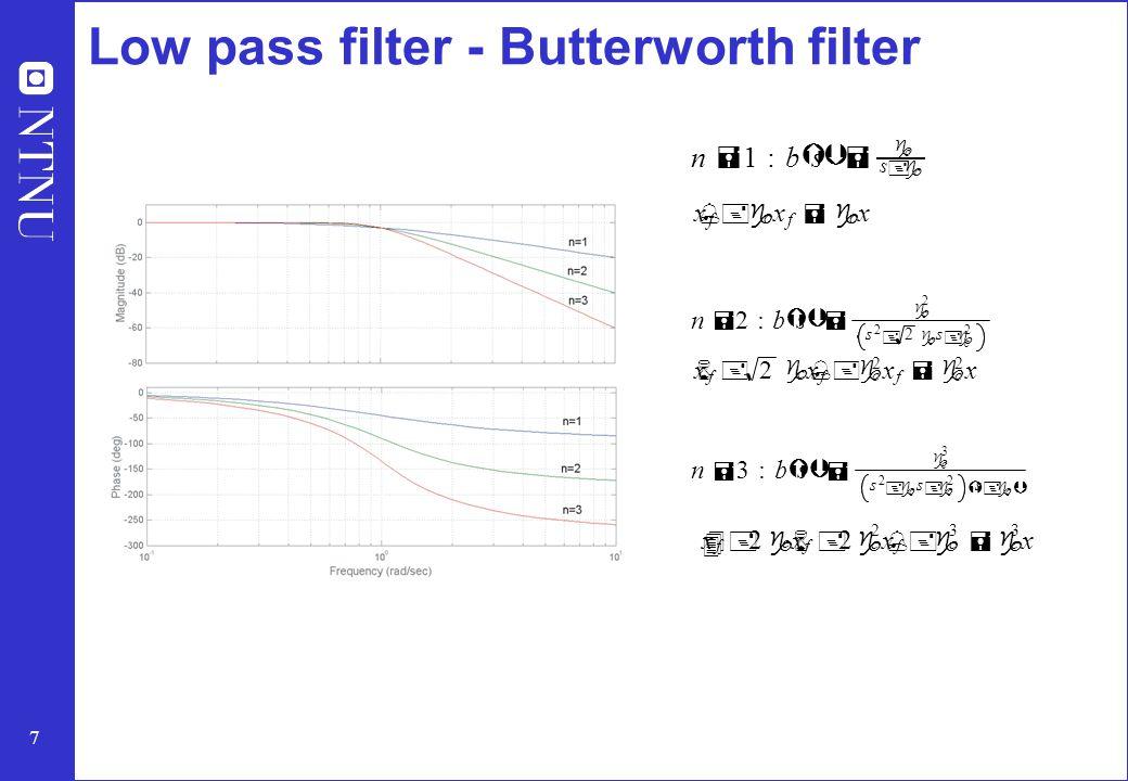 7 Low pass filter - Butterworth filter n = 1:b Ý s Þ = g c s +g c x % f +g c x f =g c x n = 2:b Ý s Þ = g c 2 s 2 + 2 g c s +g c 2 x 6 f + 2 g c x % f +g c 2 x f =g c 2 x n = 3:b Ý s Þ = g c 3 s 2 +g c s +g c 2 Ý s +g c Þ x 4 f + 2 g c x 6 f + 2 g c 2 x % f +g c 3 =g c 3 x