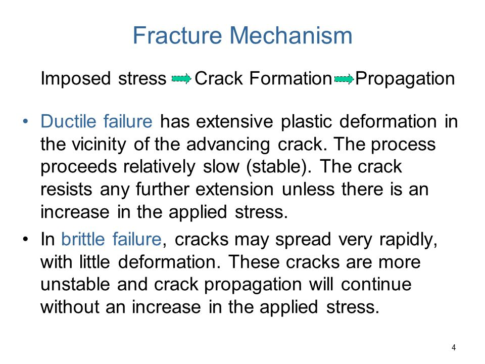 55 Crack Propagation Cracks propagate due to sharpness of crack tip A plastic material deforms at the tip, blunting the crack.