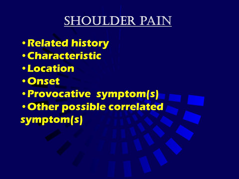 Shoulder pain Related history Characteristic Location Onset Provocative symptom(s) Other possible correlated symptom(s)