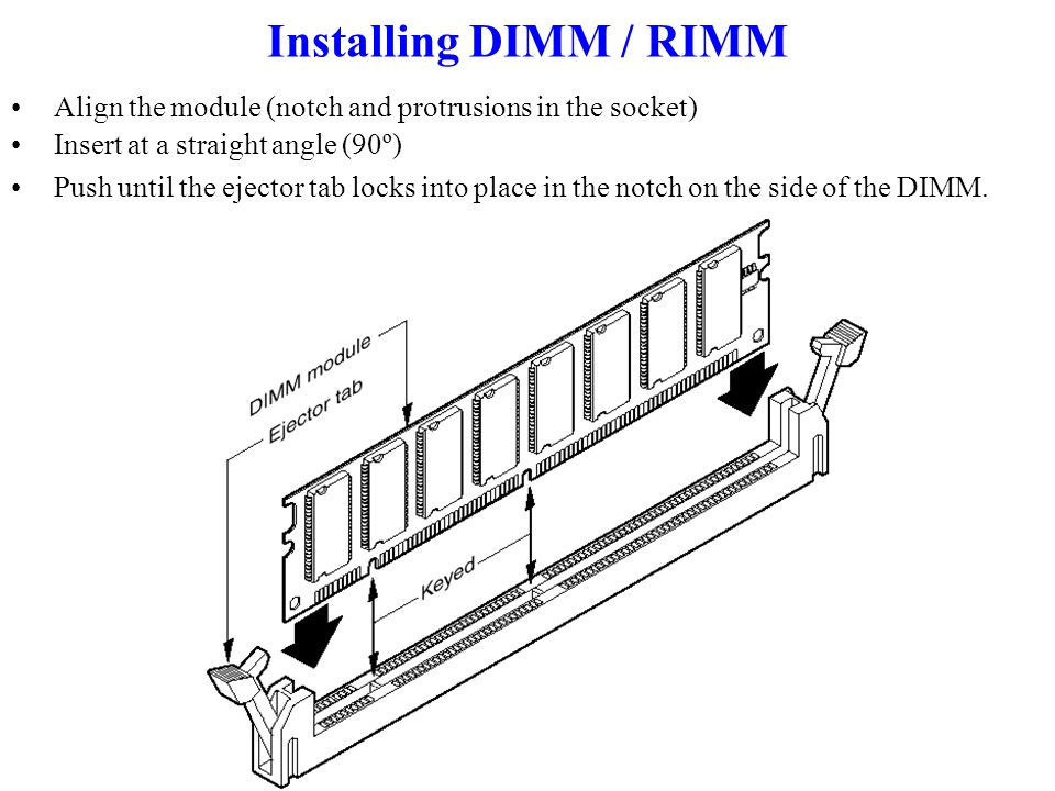 Installing DIMM / RIMM Align the module (notch and protrusions in the socket) Insert at a straight angle (90º) Push until the ejector tab locks into place in the notch on the side of the DIMM.