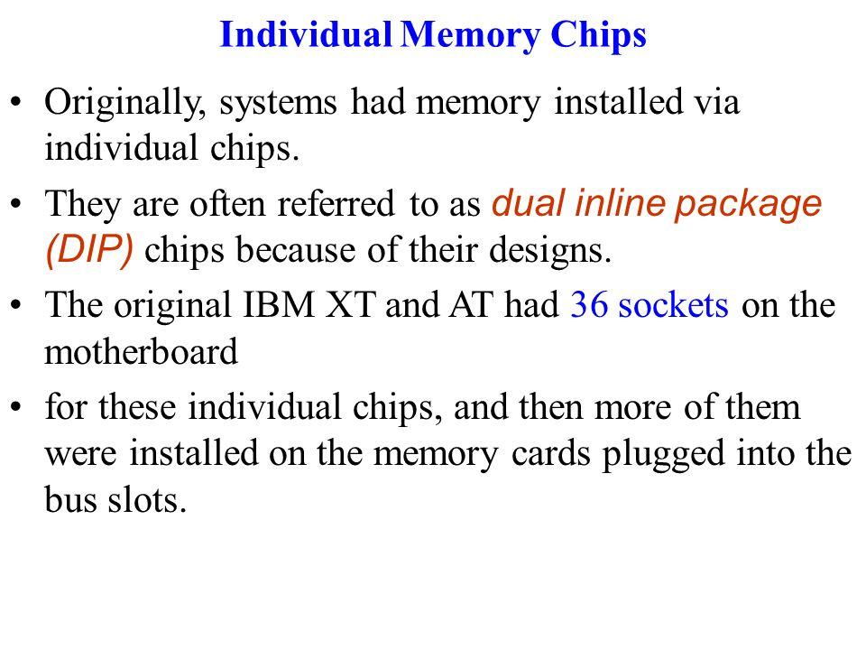 Individual Memory Chips Originally, systems had memory installed via individual chips.