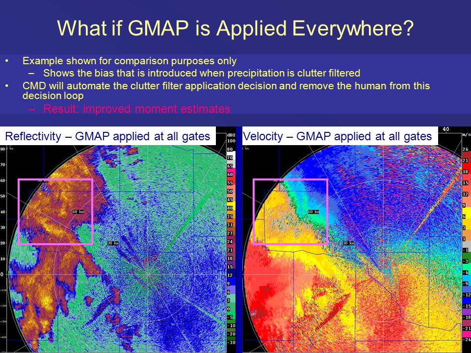 What if GMAP is Applied Everywhere? Example shown for comparison purposes only –Shows the bias that is introduced when precipitation is clutter filter