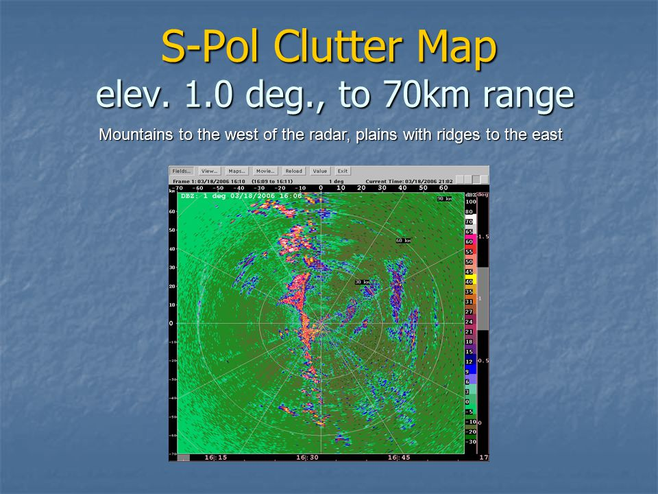 S-Pol Clutter Map elev. 1.0 deg., to 70km range Mountains to the west of the radar, plains with ridges to the east