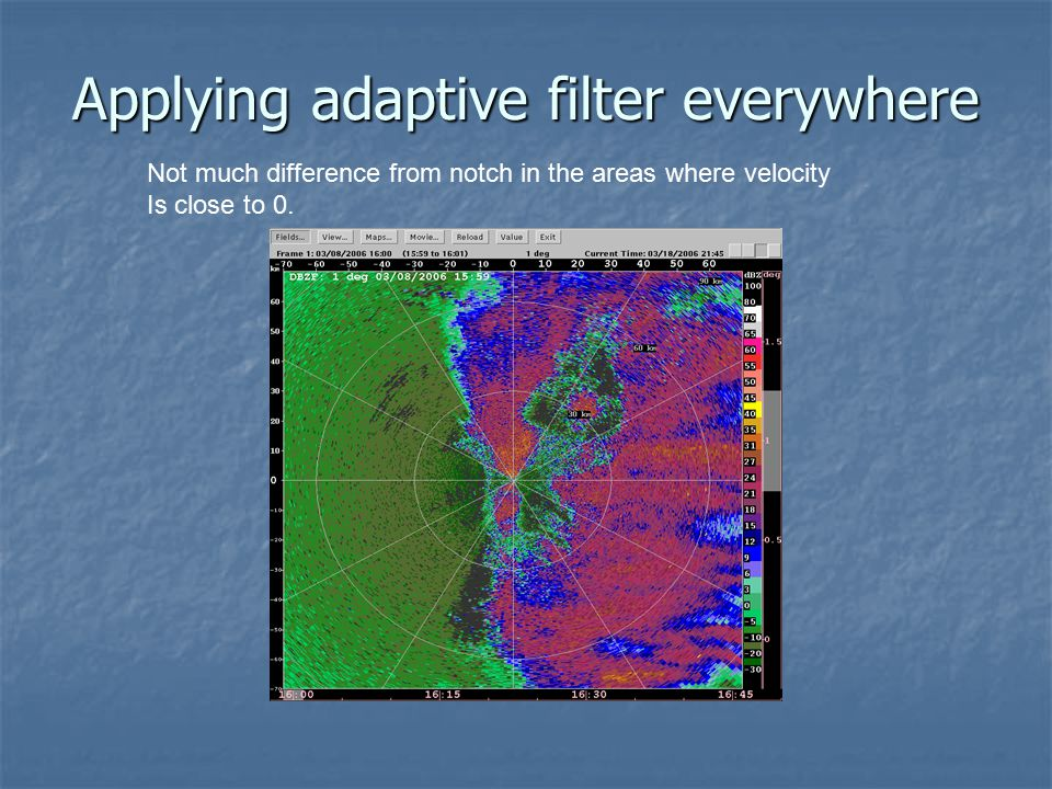 Applying adaptive filter everywhere Not much difference from notch in the areas where velocity Is close to 0.
