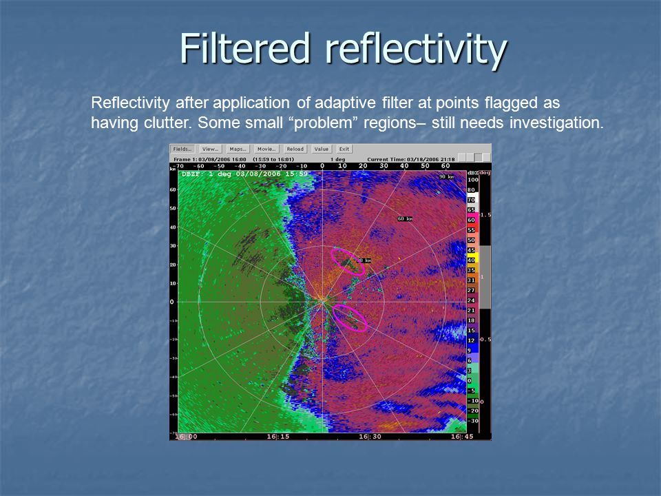"Filtered reflectivity Reflectivity after application of adaptive filter at points flagged as having clutter. Some small ""problem"" regions– still needs"