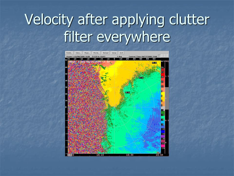 Velocity after applying clutter filter everywhere