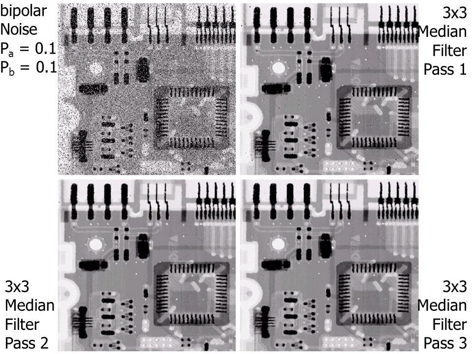 bipolar Noise P a = 0.1 P b = 0.1 3x3 Median Filter Pass 1 3x3 Median Filter Pass 2 3x3 Median Filter Pass 3
