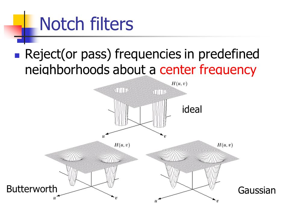 Notch filters Reject(or pass) frequencies in predefined neighborhoods about a center frequency ideal Butterworth Gaussian