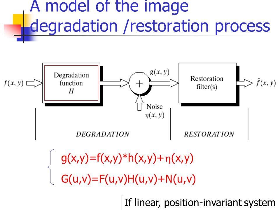 A model of the image degradation /restoration process g(x,y)=f(x,y)*h(x,y)+  (x,y) G(u,v)=F(u,v)H(u,v)+N(u,v) If linear, position-invariant system