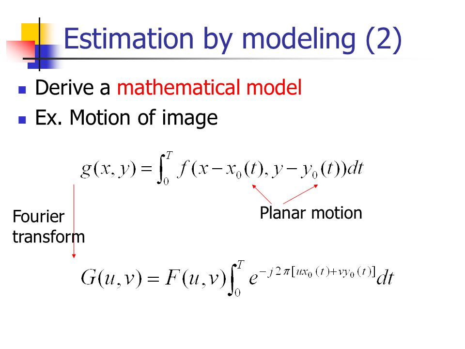 Estimation by modeling (2) Derive a mathematical model Ex. Motion of image Planar motion Fourier transform