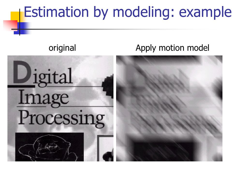 Estimation by modeling: example originalApply motion model