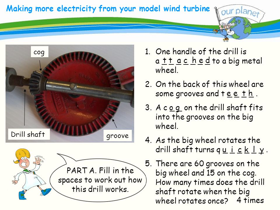 What size is your carbon footprint? Making more electricity from your model wind turbine 1.One handle of the drill is a _ _ _ _ _ _ _ to a big metal w