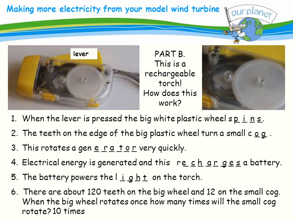 What size is your carbon footprint? Making more electricity from your model wind turbine lever 1.When the lever is pressed the big white plastic wheel