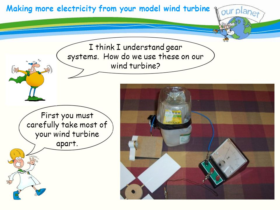 What size is your carbon footprint? Making more electricity from your model wind turbine I think I understand gear systems. How do we use these on our