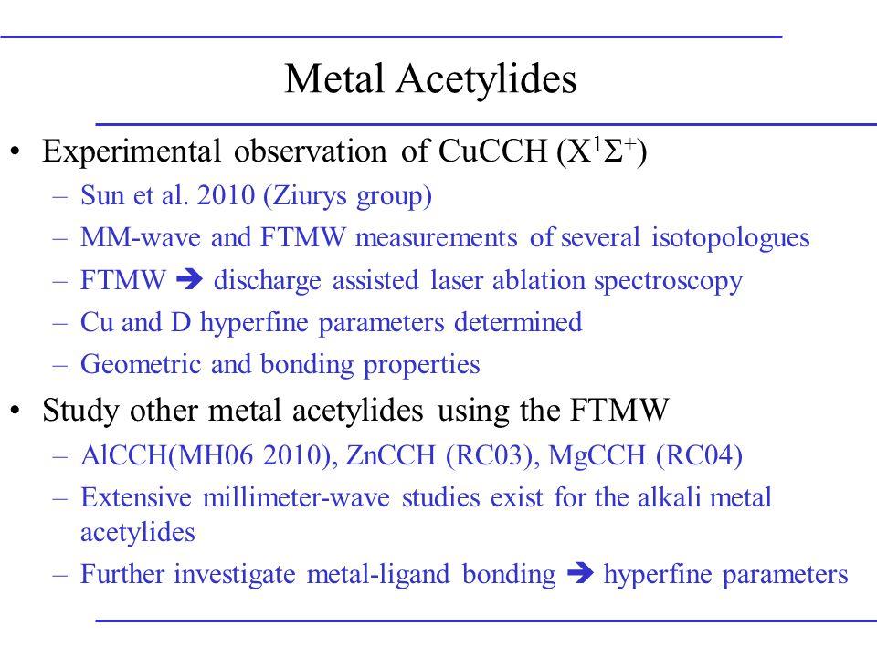 Metal Acetylides Experimental observation of CuCCH (X 1  + ) –Sun et al.