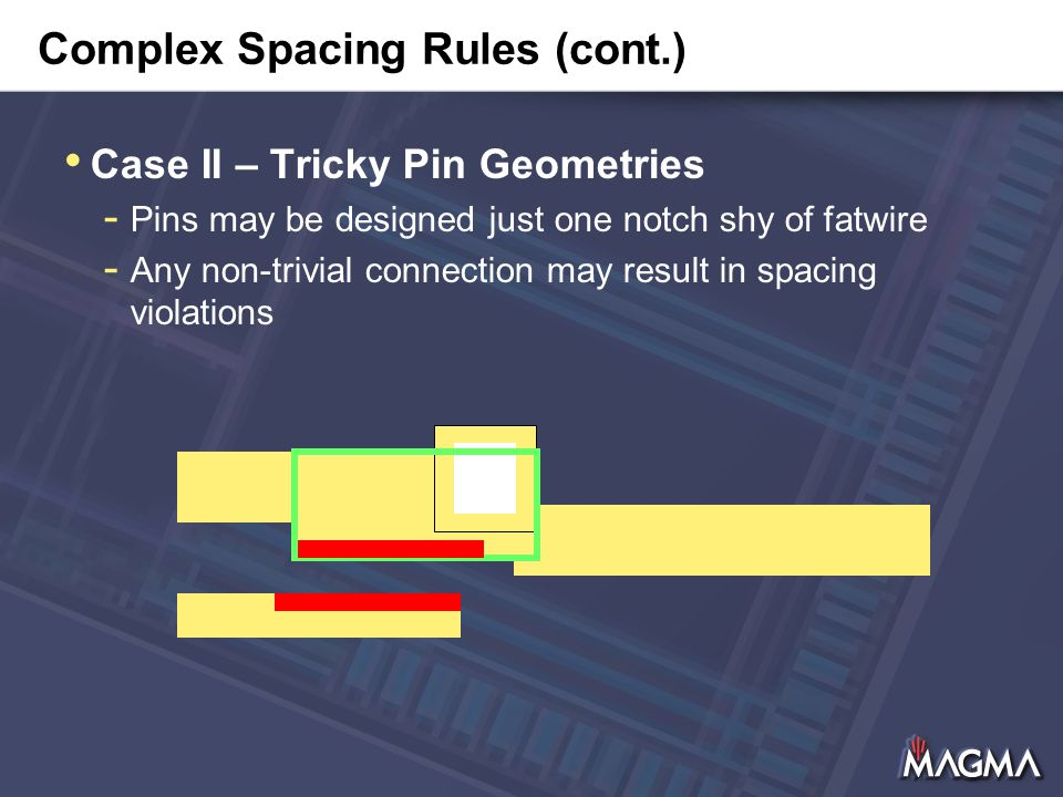 Complex Spacing Rules (cont.) Case II – Tricky Pin Geometries - Pins may be designed just one notch shy of fatwire - Any non-trivial connection may result in spacing violations