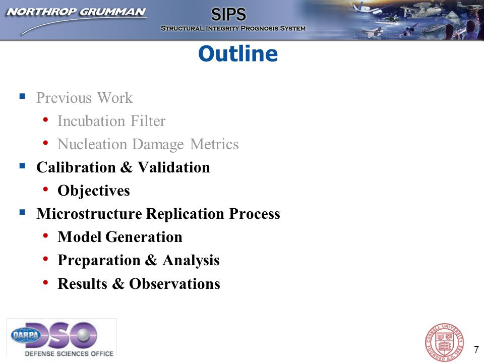 8 Physical Data (from Northrop Grumman) Computational Modeling Generate Model Prepare and Analyze Record and Observe SEM OIM Particle Detailed Microstructure Take detailed microstructure from EBSD/OIM Generate a simplified microstructure derivative based on phenomenological information Assign crystal plasticity model, with measured orientations, to each grain Mesh and apply notch strain Test effect of simplifying the microstructure by comparing with results from detailed geometry Record results, check for mesh convergence, and note numerical advantages for each simplified microstructure derivative Microstructure Replication Process